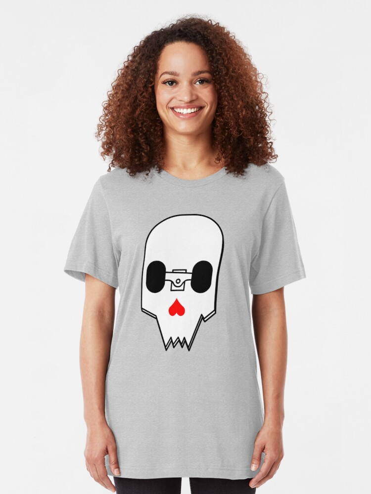 Alternate view of Broken Skateboard Skull V1 Slim Fit T-Shirt
