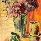 Candle and elephant with hydrangea by christine purtle