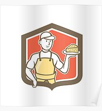 Cheesemaker Holding Parmesan Cheese Cartoon Poster