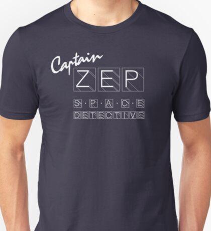 Captain Zep - Space Detective (white text) T-Shirt