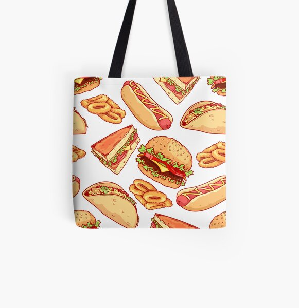 Pattern with burgers, sandwiches, tacos, hot dogs and onion rings. All Over Print Tote Bag
