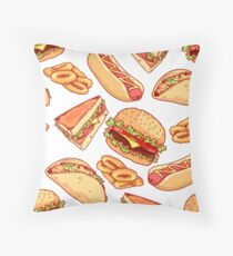 Pattern with burgers, sandwiches, tacos, hot dogs and onion rings. Throw Pillow