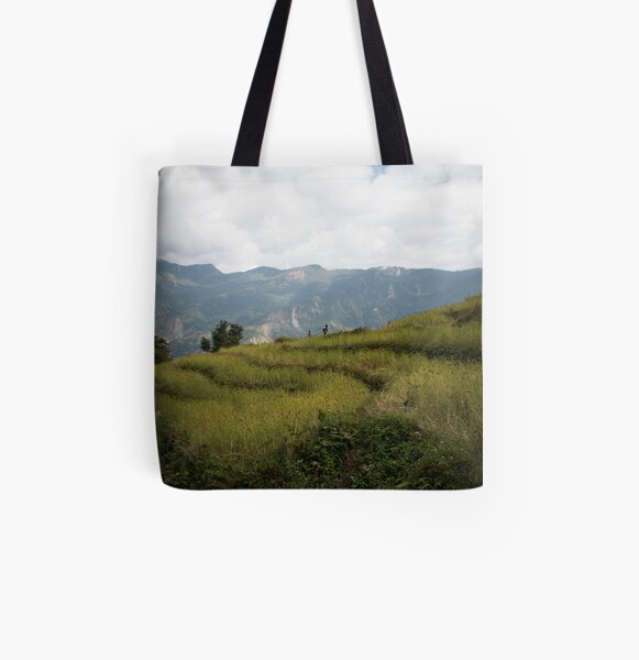 Millet terraces in Gorkha district All Over Print Tote Bag