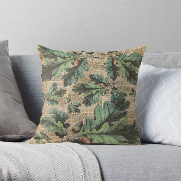 Oak Tree Leaves And Acorns, Autumn Vintage  Dictionary Art Throw Pillow