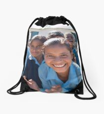 Girls In Tesinge - Far-west Nepal Drawstring Bag