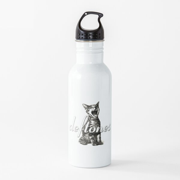 white cat laught Water Bottle