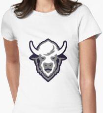 Buffalo Head Mascot Emblem. Womens Fitted T-Shirt