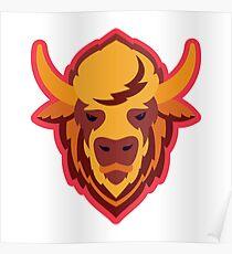 Buffalo Head Mascot Emblem. Poster