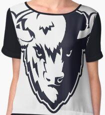 Buffalo Head Mascot Emblem. Chiffon Top