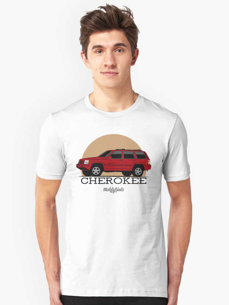 Jeep Grand Cherokee (ZJ) (red) Unisex T-Shirt Front