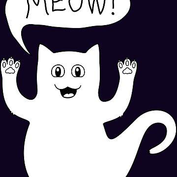 Cute spooky cat ghost by catsandstars