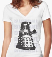 DALEK EXTERMINATE Women's Fitted V-Neck T-Shirt
