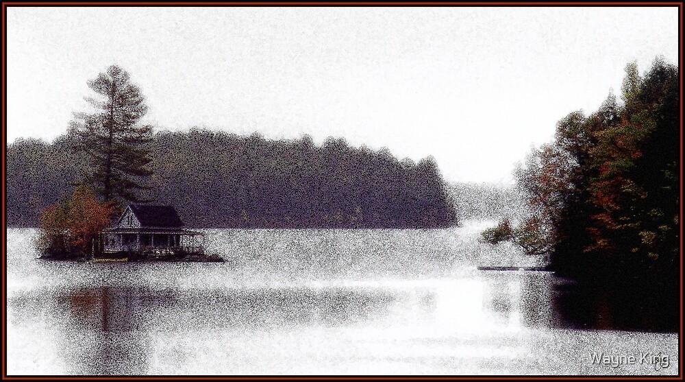 Loon Island Misty Mindscape by Wayne King