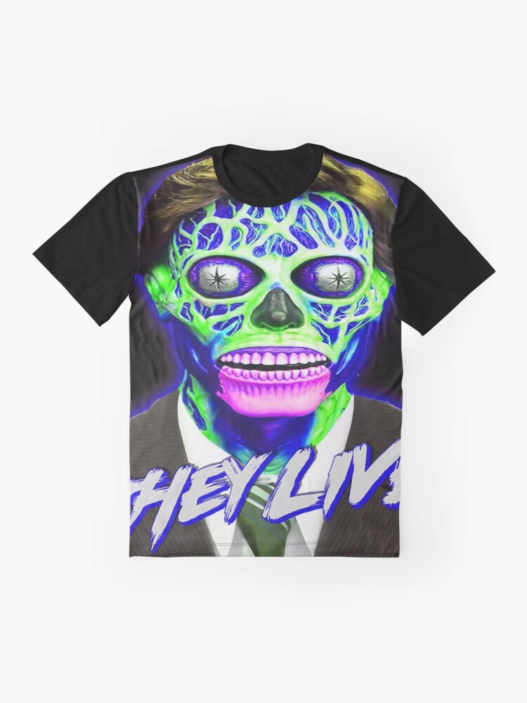 Alternate view of THEY LIVE - Blue & Green Graphic T-Shirt