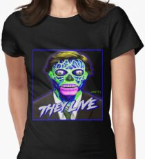 THEY LIVE - Blue & Green Womens Fitted T-Shirt