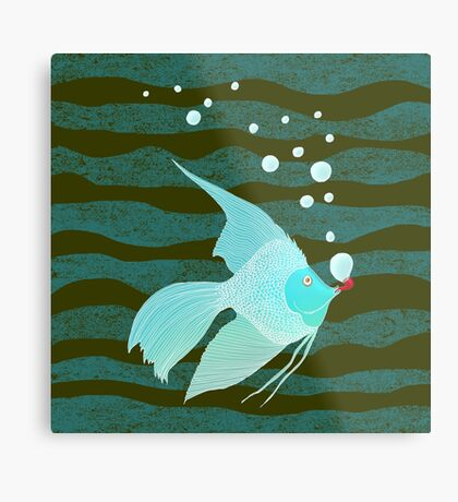Bubble Fish Red Pipe Metal Print