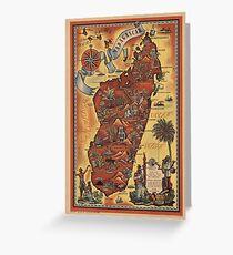 Map of Madagascar 1952 Greeting Card