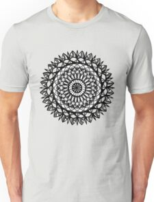 Traditional Floral Mandala Repetition Pen and Ink Design Unisex T-Shirt