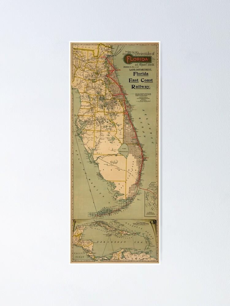 Map of Florida 1896 | Poster