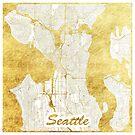 Seattle Karte Gold von HubertRoguski