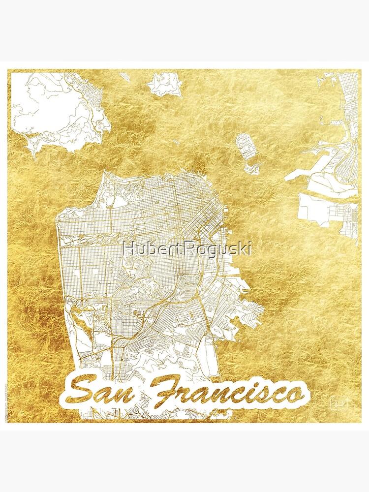 San Francisco Map Gold by HubertRoguski
