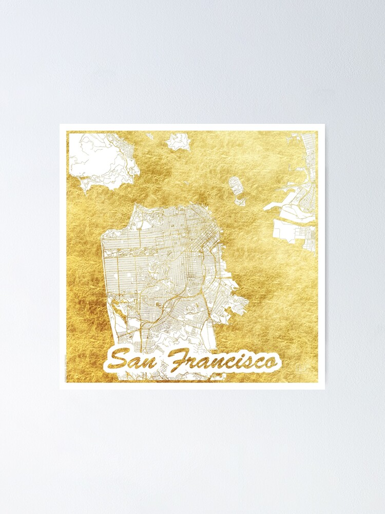 Alternate view of San Francisco Map Gold Poster