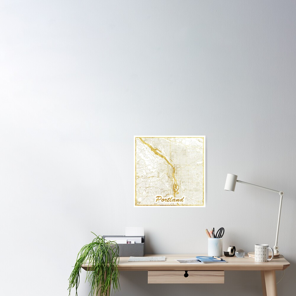 Portland Map Gold Poster
