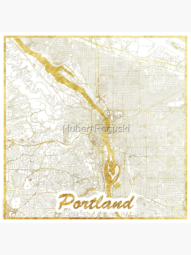 Portland Map Gold by HubertRoguski