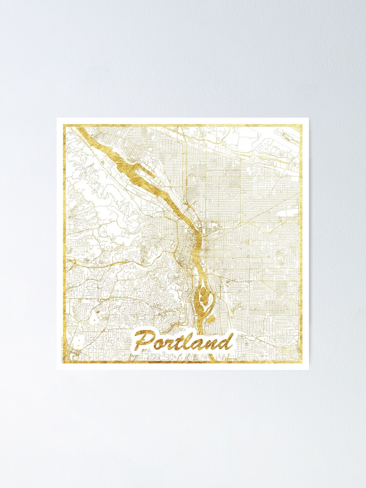 Alternate view of Portland Map Gold Poster