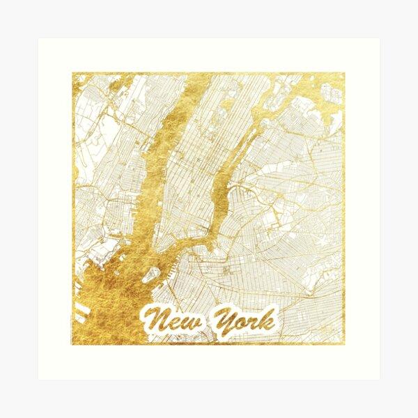 New York Map Gold Art Print
