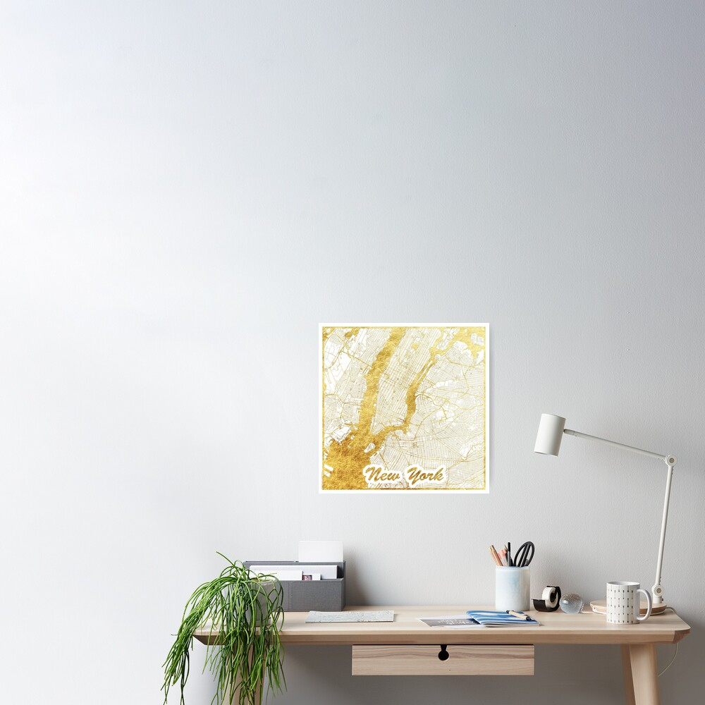 New York Map Gold Poster