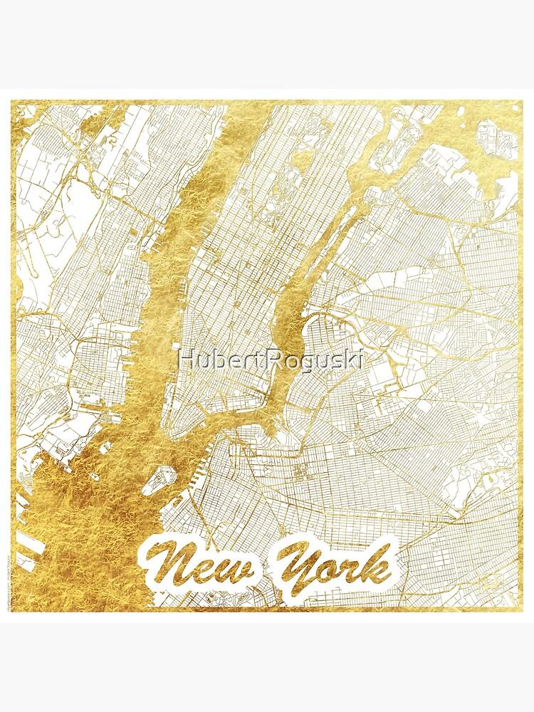 New York Map Gold by HubertRoguski