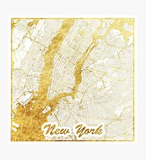 New York Map Gold Photographic Print