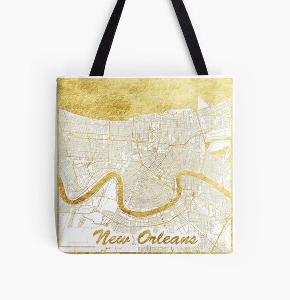 New Orleans Map Gold All Over Print Tote Bag