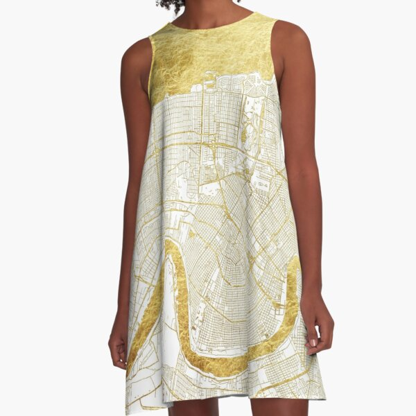 New Orleans Map Gold A-Line Dress