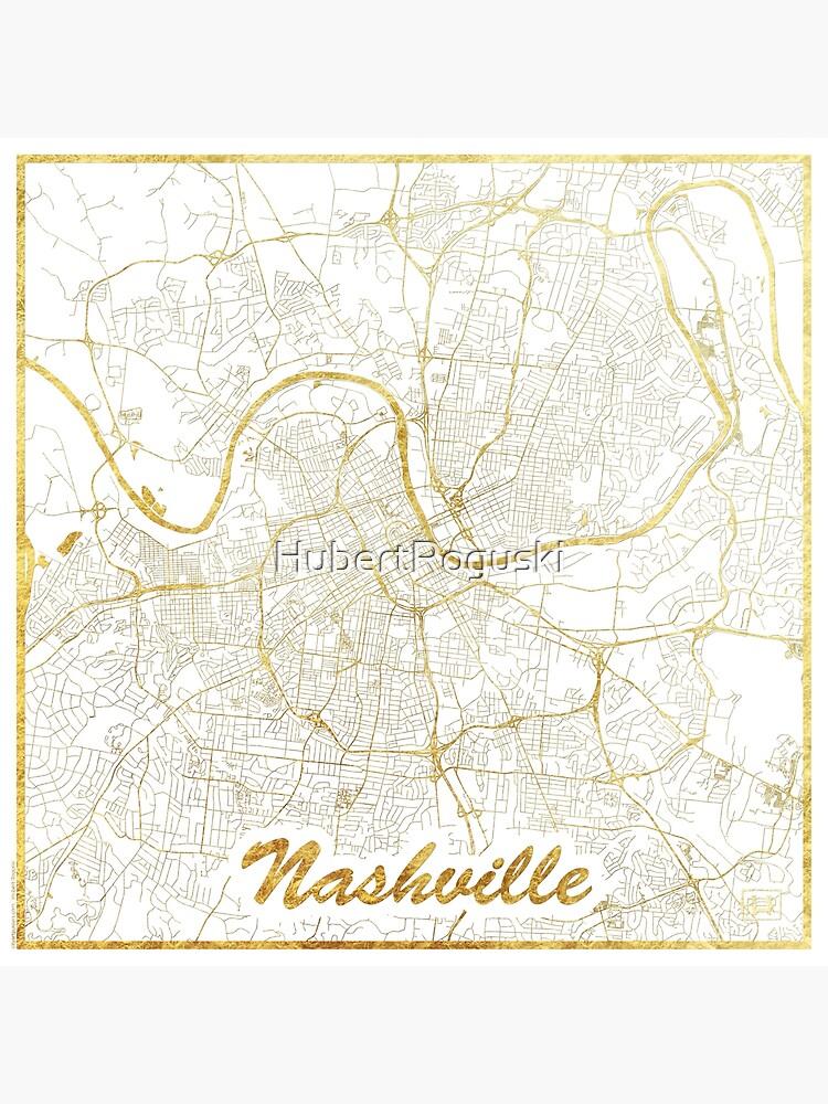 Nashville Map Gold by HubertRoguski