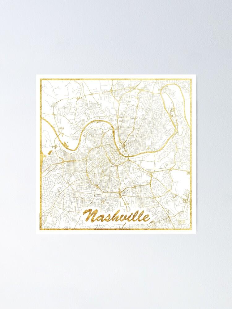 Alternate view of Nashville Map Gold Poster