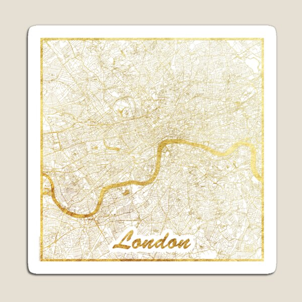London Map Gold Magnet