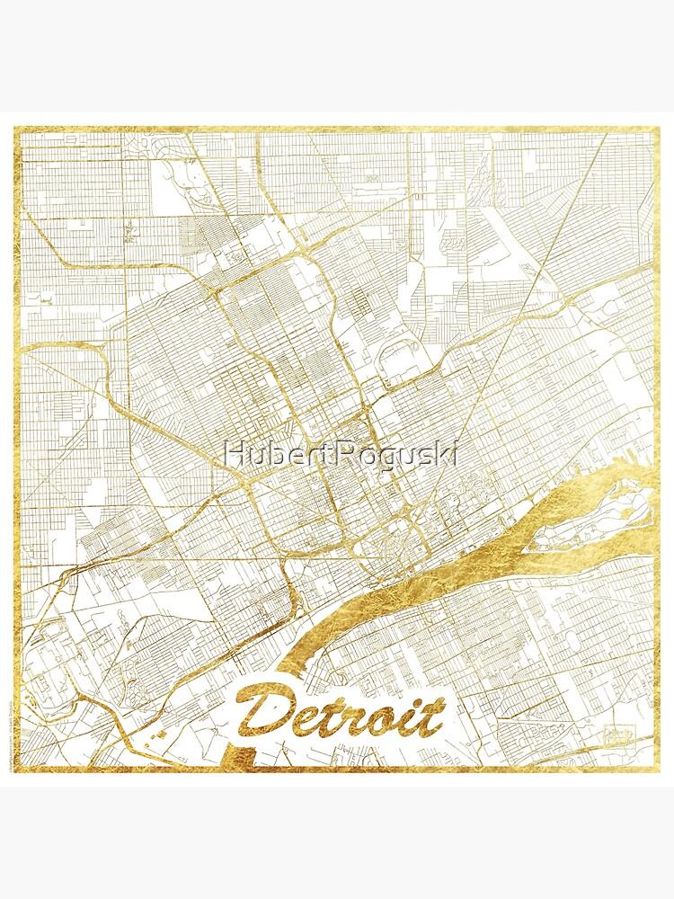 Detroit Map Gold by HubertRoguski