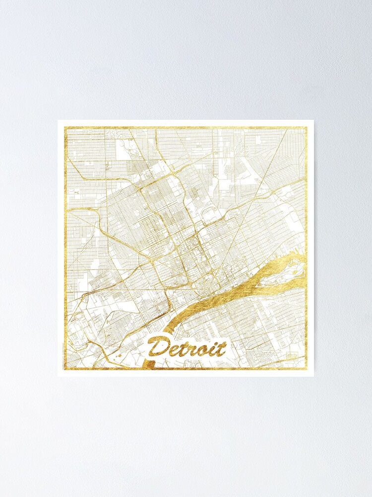 Alternate view of Detroit Map Gold Poster