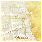 Chicago Map Gold by HubertRoguski