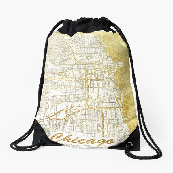 Chicago Map Gold Drawstring Bag