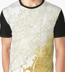 Barcelona Map Gold Graphic T-Shirt