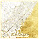 Barcelona Karte Gold von HubertRoguski