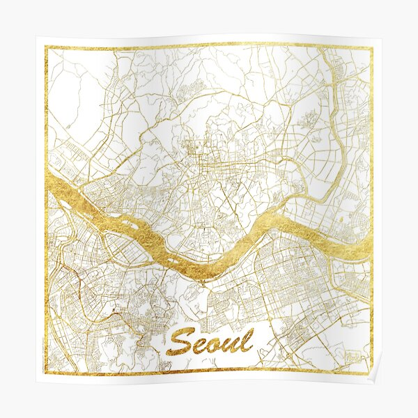 Seoul Map Gold Poster