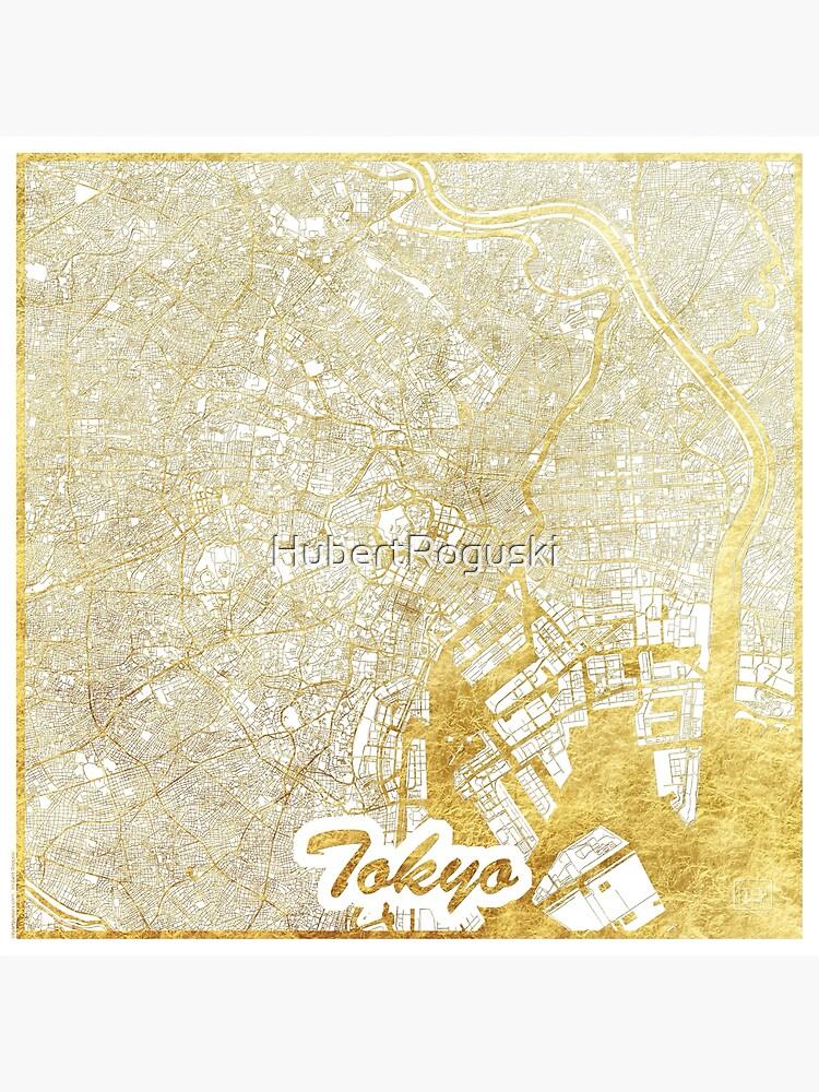 Tokyo Map Gold by HubertRoguski