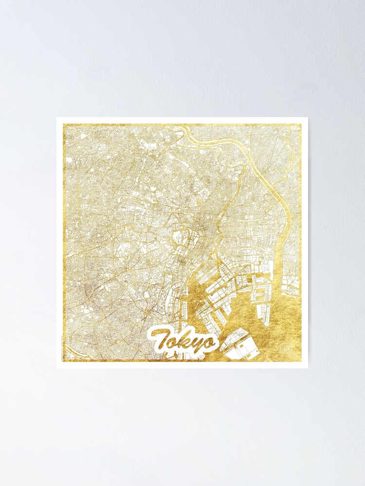 Alternate view of Tokyo Map Gold Poster
