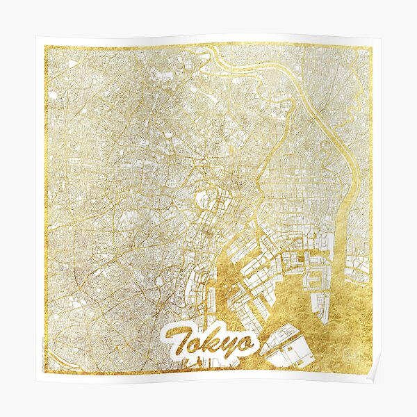 Tokyo Map Gold Poster