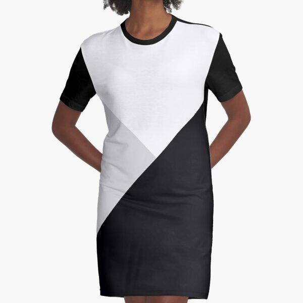 Monochromatic Black White Gray Color Block Graphic T-Shirt Dress