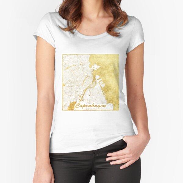 Copenhagen Map Gold Fitted Scoop T-Shirt